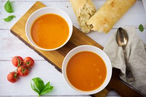 recipe for tomato soup with pasta and fresh tomatoes served with flute