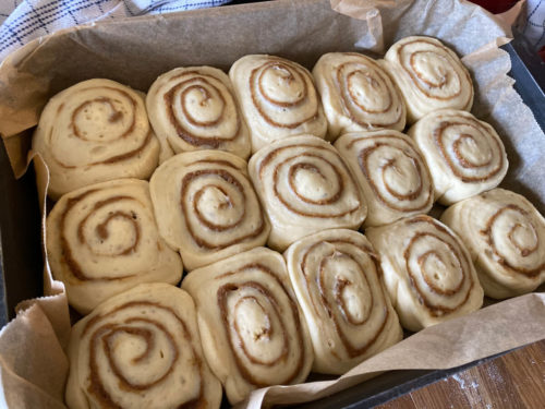 Cinnamon buns after proving