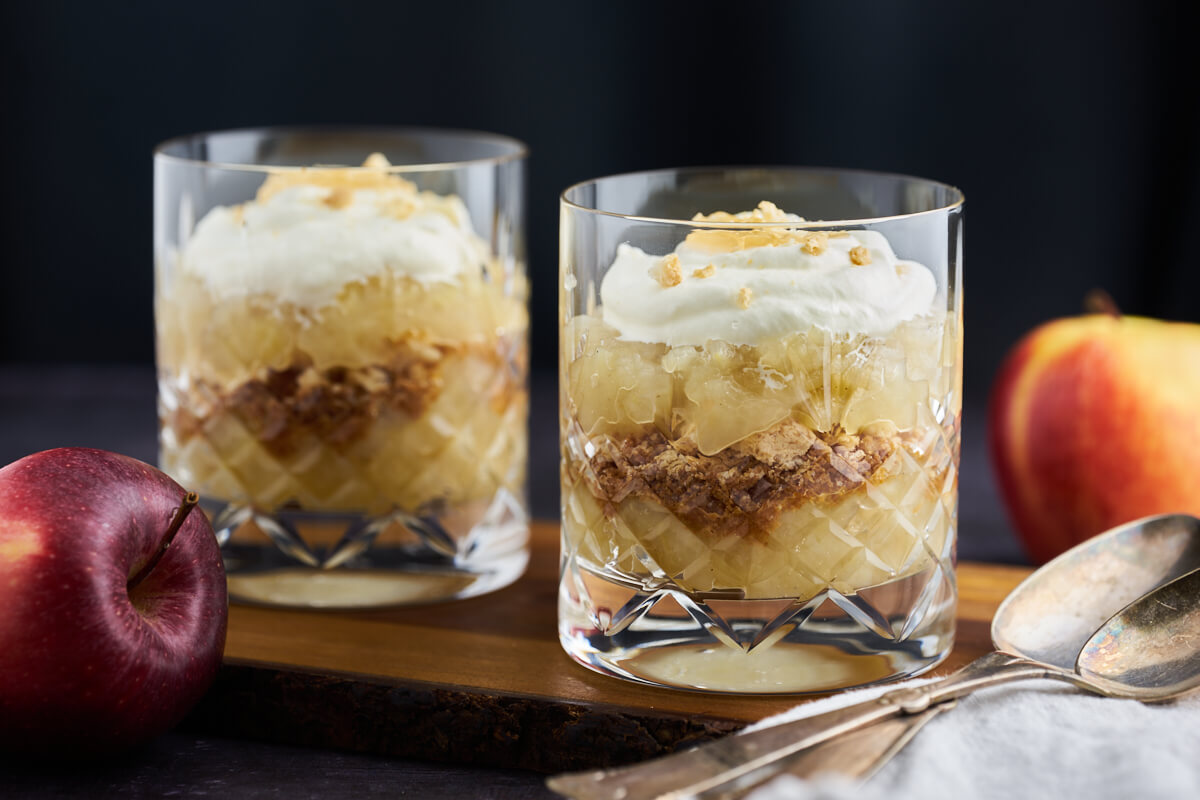 old-fashioned danish apple cake served in glass