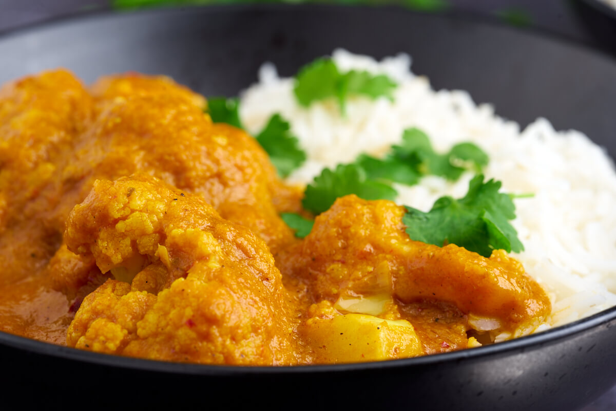 blomkålscurry / vegetar curry med blomkål og ris
